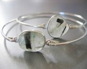 BLACK RUTILE QUARTZ gemstone bangle bracelet