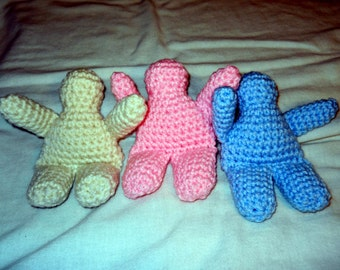 Plain Crocheted Doll small, pink or blue or white