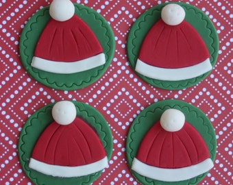 12 Fondant cupcake toppers--winter hats
