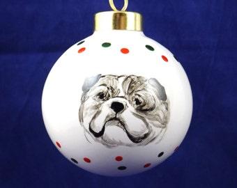 Bulldog hand painted porcelain Christmas Ornament