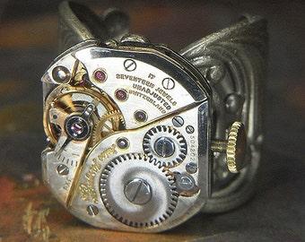 Men's or Women's STEAMPUNK Ring Jewelry - Torch Soldered - Vintage Silver JULES JURGENSEN Watch Movement w/ Orignal Crown - Bold & Stylish