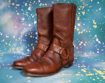 Brown Motorcycle Boots Men's Size 8 .5 EE ExtraWIDE