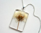 Dandelion - Real Flower Garden Necklace - Pressed flower, natural, field, wild, everyday casual, white, fluffy, spring summer, ooak, gift