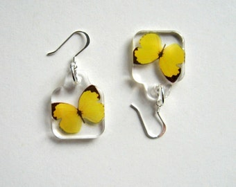 Butterfly Earrings - Enchanted Petites - yellow, Summer earrings, butterfly earrings, wings, flutter, Nature inspired, modern, gift