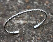 Sterling Silver Cuff Bracelet - Silver Baby Bracelet - Child Size Bracelet - Keepsake Gift - Teen Size Twisted Silver Cuff - Artisan Jewelry