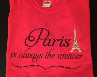 Eiffel tower Paris embroidered sweatshirt with crystals (bling)
