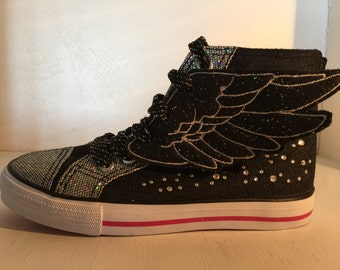 Black Glitter and Gray Embroidered Percy Jackson Hermes Inspired Shoe Wings