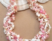 Multi strand necklace,  Beach wedding, Coral pink, statement necklace, Bahamas, Island, summer, woven, twisted, necklace: Bahama Beach