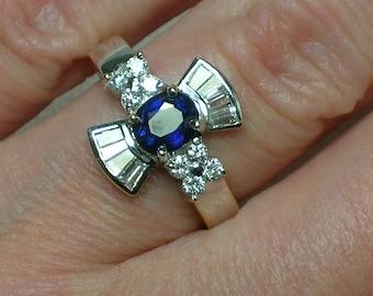 Sapphire & Diamond Ring: Greek Cross, Maltese, Italian 750 18K Gold
