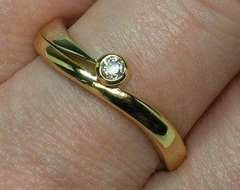 Retro Engagement Ring, Diamond Solitaire. Bezel Set Two Tone Gold