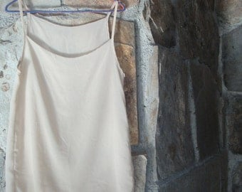 90s SHEER NUDE TANK vintage tunic top  high low hem S