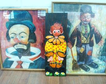VINTAGE CLOWN ART 70's 80's sad clown wall art pictures prints framed wooden decoupage