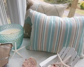 Decorative Lumbar Pillow - Duck Egg Blue and Beige Elegant Sash Diamond and Striped Design Pillow - Bedroom Decor - Insert Included