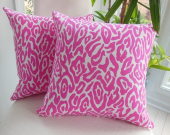 Bright Pink Leopard Pillow - Girls Bedroom  -  Animal Print - Hot Pink Accent Pillow - Insert Included - 15 x 15 Inch
