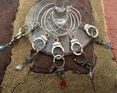 Set of 6 happily divorced break up FREEDOM silver handcuff wine glass charms adorned with crystals.. New chapter