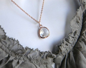 Rose Gold Necklace-Clear Glass-Bridesmaid Necklace-Wedding Jewelry- Dainty Rose Gold Necklace
