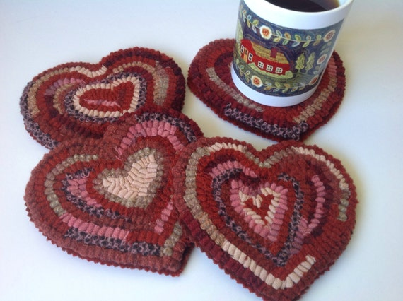 Rug Hooking PATTERN, Heart Mug Rugs, J872