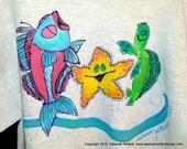 Happy Dancing Sea Creatures Sweatshirt Handpainted for Kids