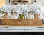 Custom Made Rustic Planter Box with 5 Painted Mason Jars. Painted Mason Jars.Wedding Decor. Table Centerpiece. Cream. Rustic Home Decor.