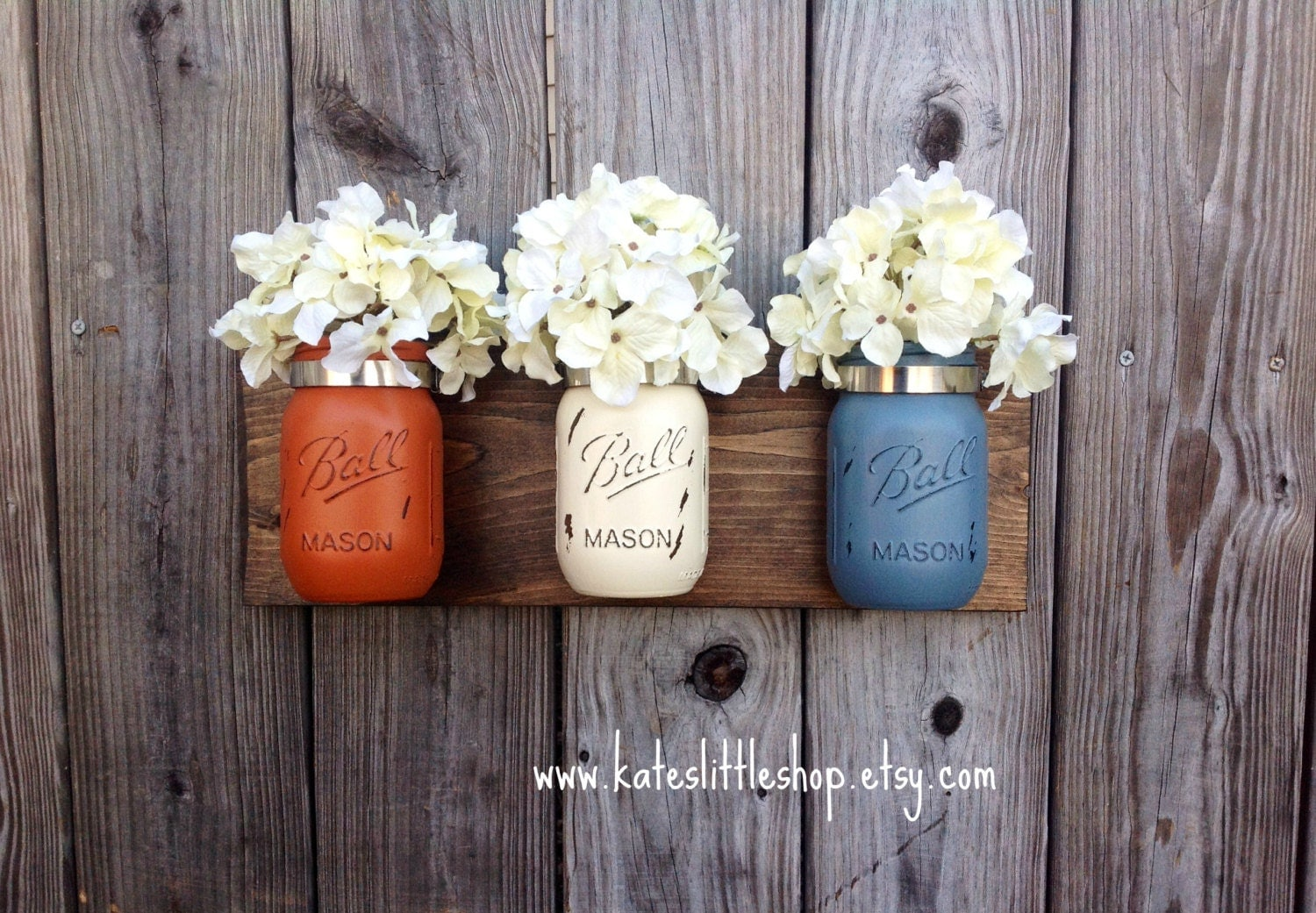Wall Decor With Mason Jars : Set of pint size mason jar wall decor hanging rustic