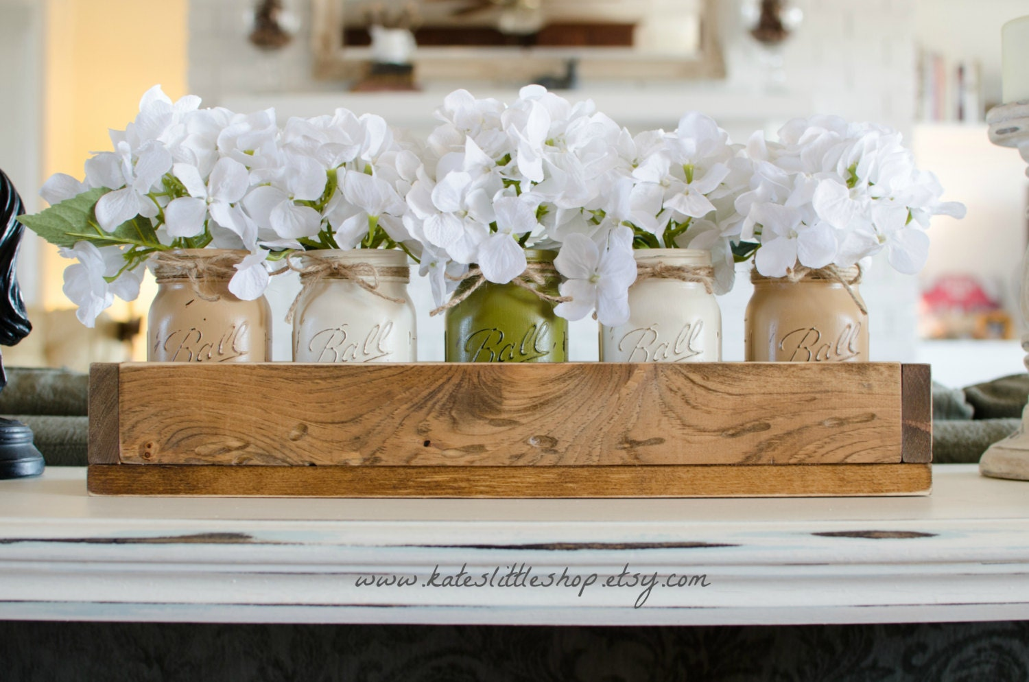 Custom Made Rustic Planter Box With 5 Painted Mason Jars Painted Mason Jars Wedding