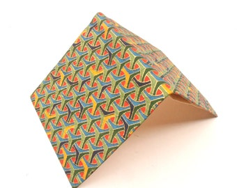Vintage Japanese Multicolored Paper Purse Op Art Geometric Wallet Orange Red Olive Green Gold Yellow Pop Abstract Billfold Villacollezione
