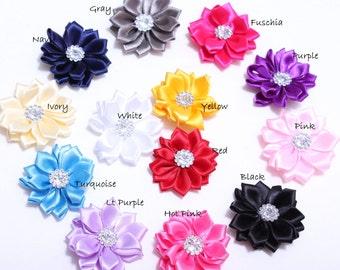 5 Pcs-Itty Bitty Small satin Flowers -with rhinestone embellishment - to make vintage flower headbands- wardrobe photo prop-hairclips