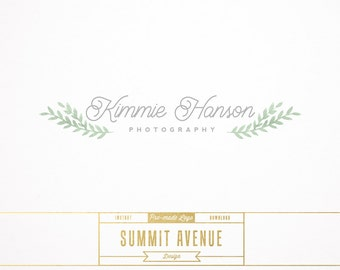 DIY Watercolor Laurel Branch Premade Logo Design for Photography or Boutique by Summit Avenue