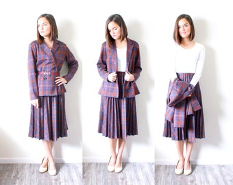 Vintage classic plaid brown skirt and blazer // boho skirt and jacket // suit and coat pair // modest outfit // small skirt // two piece set