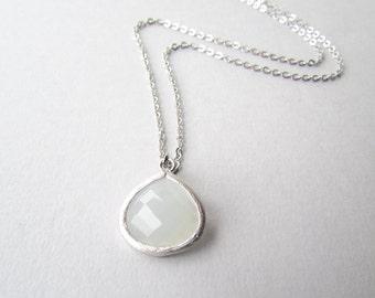 White Quartz Pendant Silver Necklace