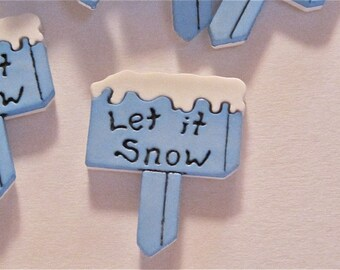 Let It Snow Blue Flat Back Buttons Cabs Lot of 7