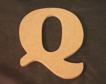 """Hand Cut Alphabets, Pack of 1 """"Q"""", 5"""" Tall, Blank, Ready for your art work"""