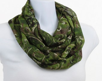 Long Infinity Scarf - Ireland Green and Shades of Taupe with Gold Thread Throughout on a Paisley Design ~ SH238-L1