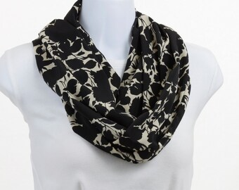 Infinity Scarf - Black and Tan - Floral  design Silky Smooth ~ SK201-L5
