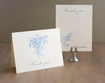 "Folded Pale Blue Wedding Thank You Cards - ""Elegant Blue"""