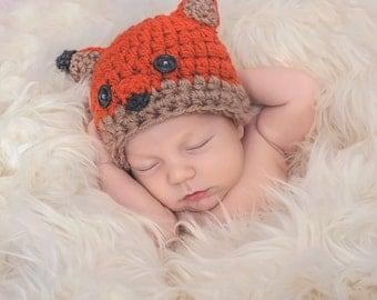 Baby Fox Hat - Crocheted Fox - Newborn Fox Photography Prop - Fox Halloween Costume