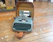 Working Vintage Grey Royal Royalite Portable Typewriter with Case, 1950s