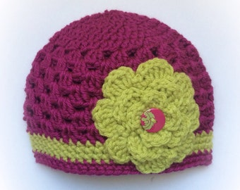 Baby Girl 3-6mo Hot Pink and Lime Green Beanie with Flower