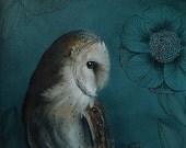 Barn Owl print, Acrylic Painting, Bird Art,  large art print 15,7'' x 15,7'' llustration by inameliart