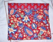 Snap Sack Red Floral Quilted Cotton