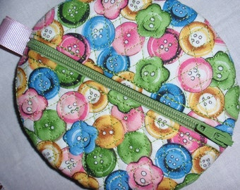 Quilted Zip Pouch Paci-Pod Earbud Pouch Change Purse