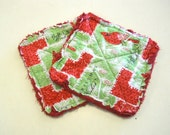 Christmas Red Cardinal Print - Pair of Quilted Fabric Pot Holders