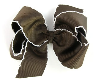 Brown and White Moonstitch Hair Bow - Baby Toddler Girl -  4 Inch Boutique Bow - Crochet Edge Stitch