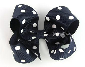 Girls Hair Bows - navy blue hair bow polka dot - 4 inch hair bows - big hair bows - boutique bows, large hair bows - girl hairbows, non slip