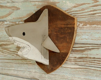 Wooden Shark Head Shark Decor Trophy Head Kids Baby Nursery Great White Shark Wall Art