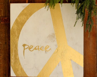 Gold Peace Sign Decor Gold Modern Holiday Decor Christmas Decoration Peace Sign Home Decor