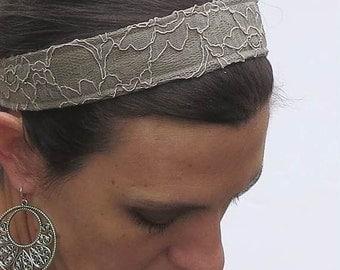 lace fabric headband taupe brown lace layered with khaki taupe. reversible headband. comfortable headband Fall fashion accessory.