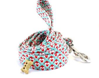Valentine's Day Dog Leash, Heart Dog Leash, Love Dog Leash, Aqua and Red Dog Leash, Wedding Dog Leash, Leash, Dog Leash