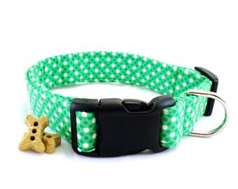 Green Polka Dot Dog Collar and Leash, St. Patrick's Collar, Green Polka Dot Collar, Green Dog Collar, Polka Dot Dog Collar