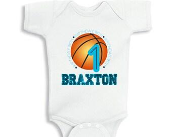 Basketball baby etsy personalized 1 year old birthday basketball baby bodysuit or kids shirt negle Choice Image